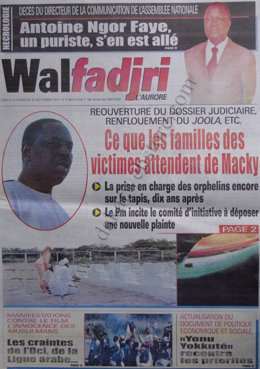 A la une du Journal Walfadjri du 22 Sept