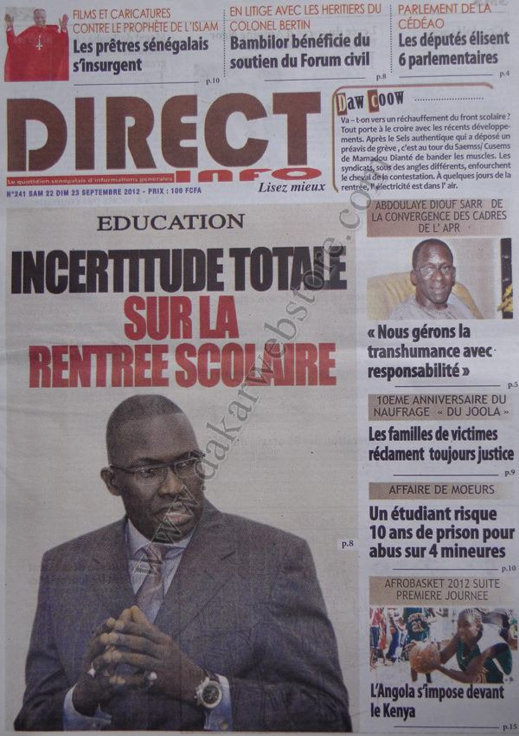 A la une du Journal Direct Info du 22 Septembre