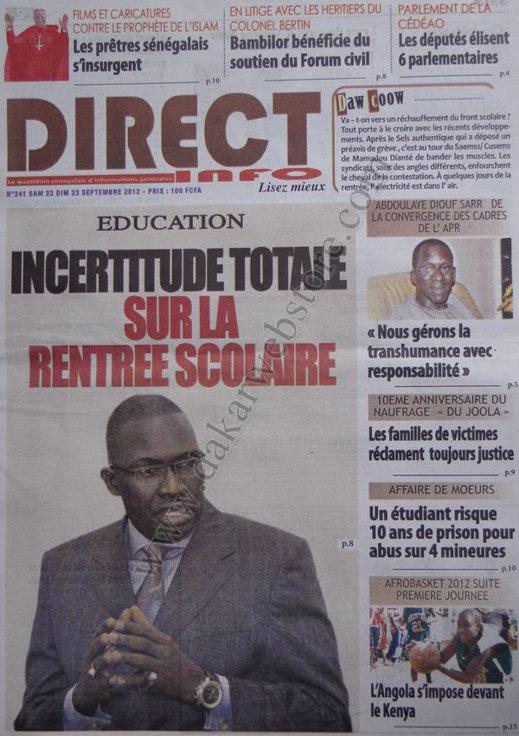 A la une du Journal Direct Info du 22 Septembre