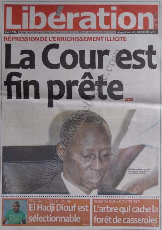 A la Une du Journal Libération du 24 Septembre