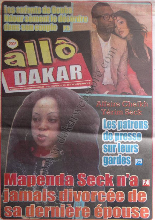 A la Une du Journal Allô Dakar du 24 Septembre