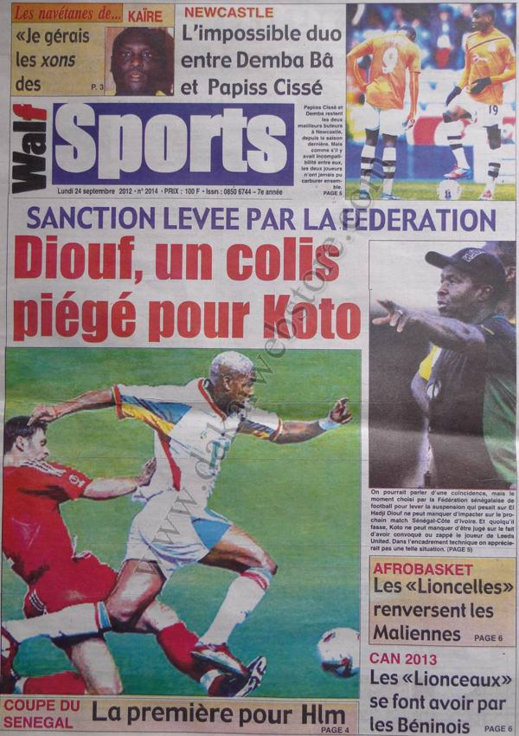A la Une du Journal Walf Sports du 24 Septembre