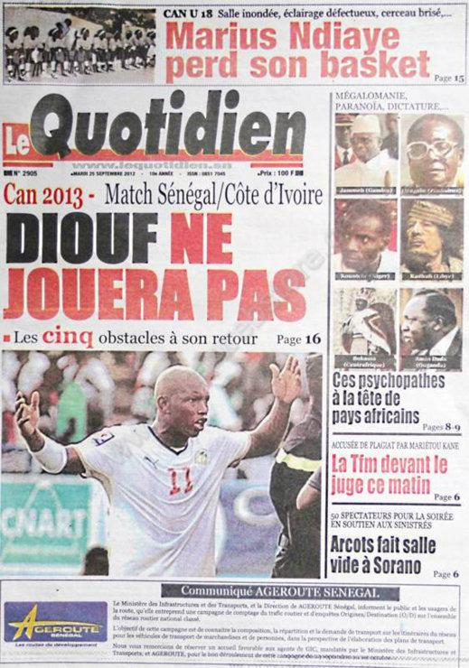 A la Une du Journal Le Quotidien du 25 Septembre