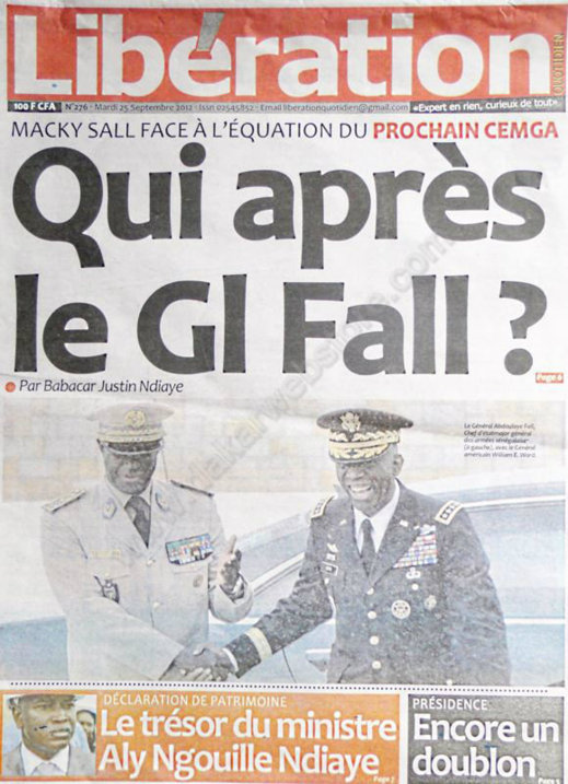 A la Une du Journal Libération du 25 Septembre