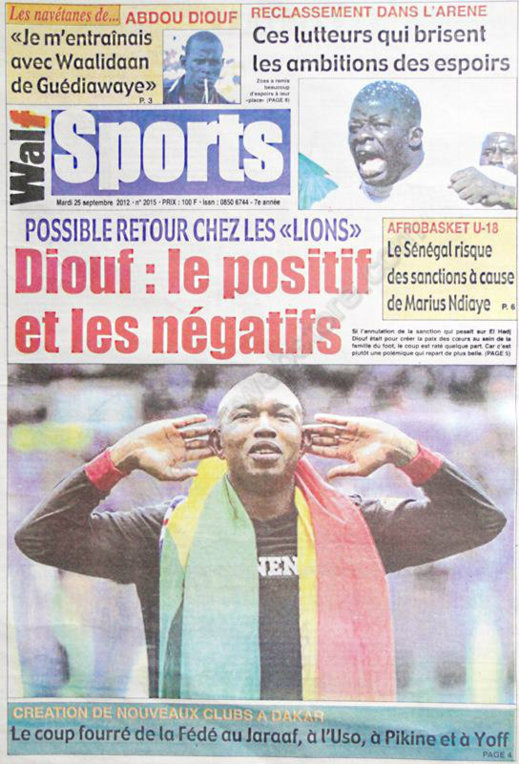 A la Une du Journal Walf Sports du 25 Septembre