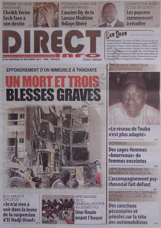 A la Une du Journal Direct Info du 26 Septembre