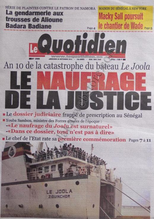 A la Une du Journal Le Quotidien du 26 Septembre