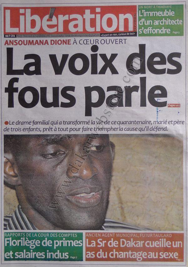 A la Une du Journal Libération du 26 Septembre