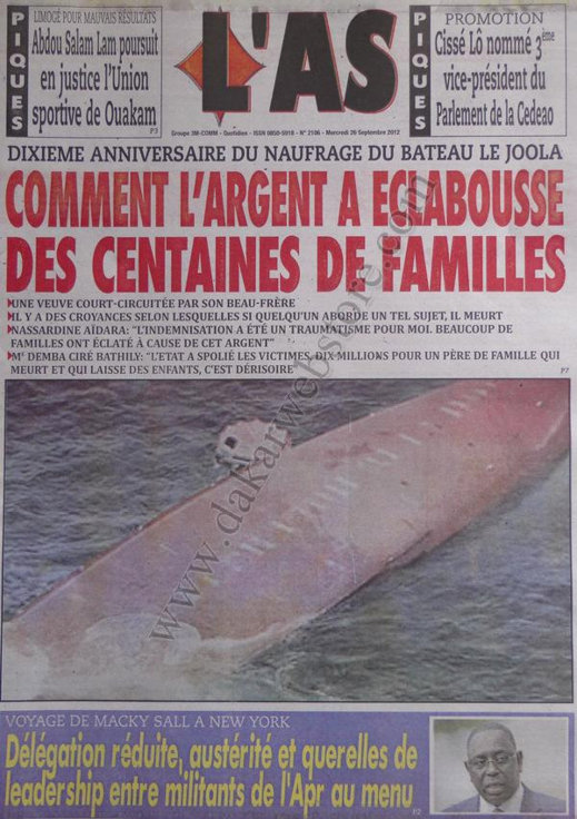 A la Une du Journal L'As du 26 Septembre
