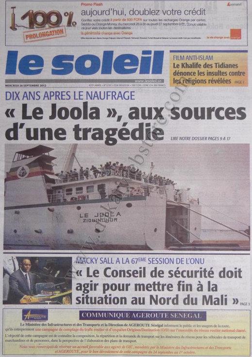 A la Une du Journal Le Soleil du 26 Septembre