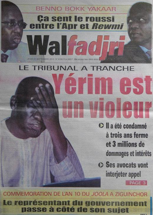 A la Une du Journal Walfadjri du 27 Septembre