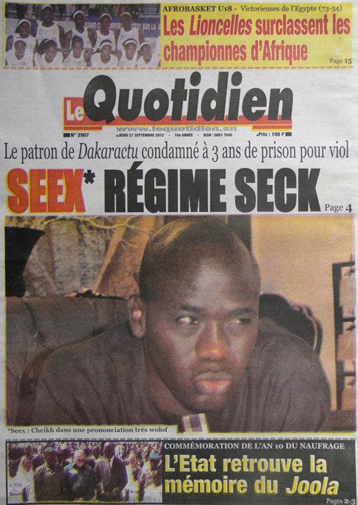 A la Une du Journal Le Quotidien du 27 Septembre