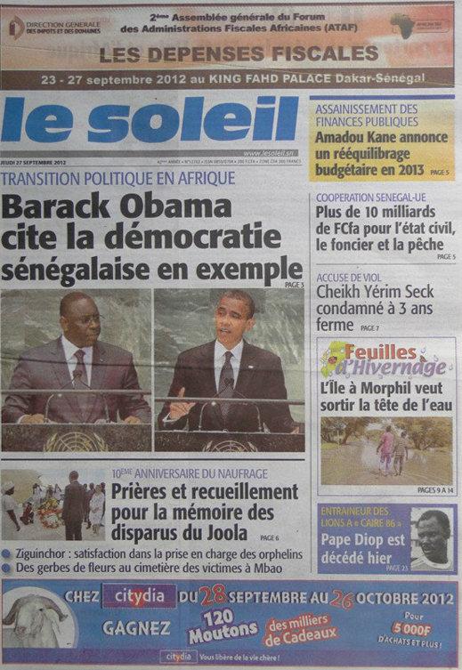 A la Une du Journal Le Soleil du 27 Septembre