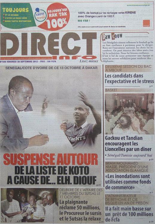 A la Une du Journal Direct Info du 28 Septembre