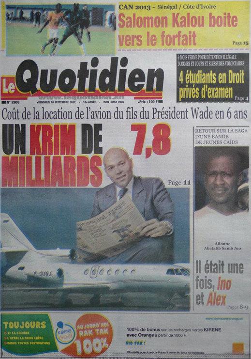 A la Une du Journal Le Quotidien du 28 Septembre