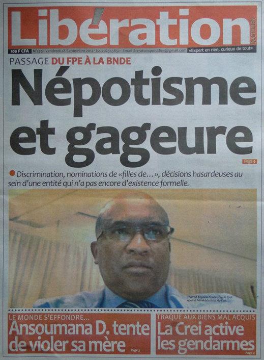 A la Une du Journal Libération du 28 Septembre