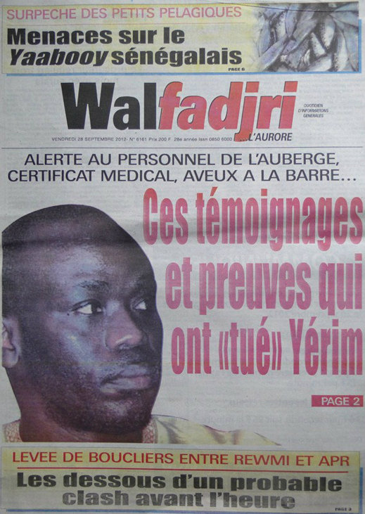 A la Une du Journal Walfadjri du 28 Septembre