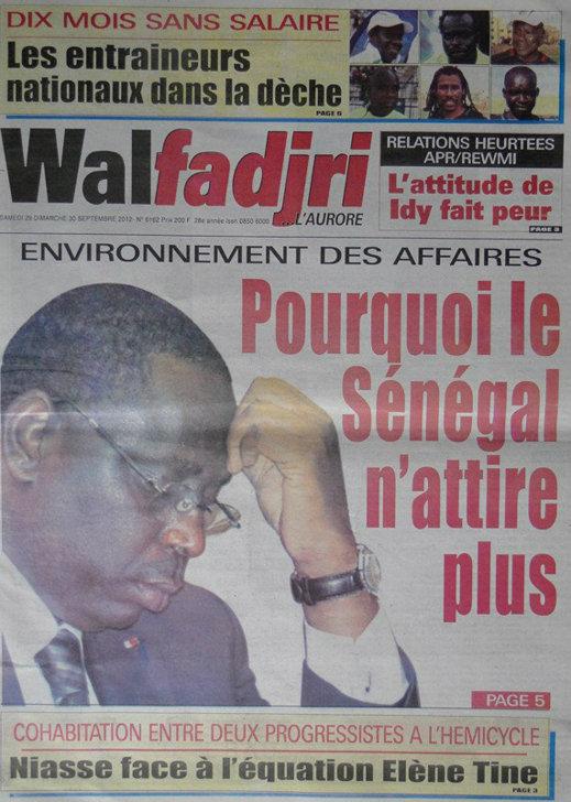 A la Une du Journal Walfadjri du 29 Septembre