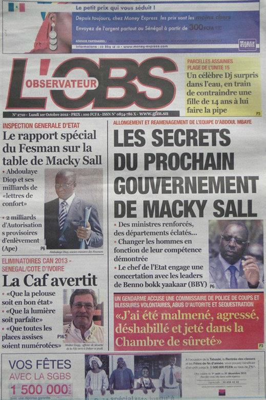 A la Une du Journal L du 01 Oct