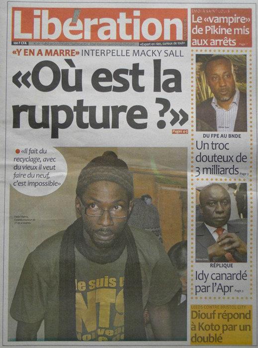 A la Une du Journal Libération du 01 Oct