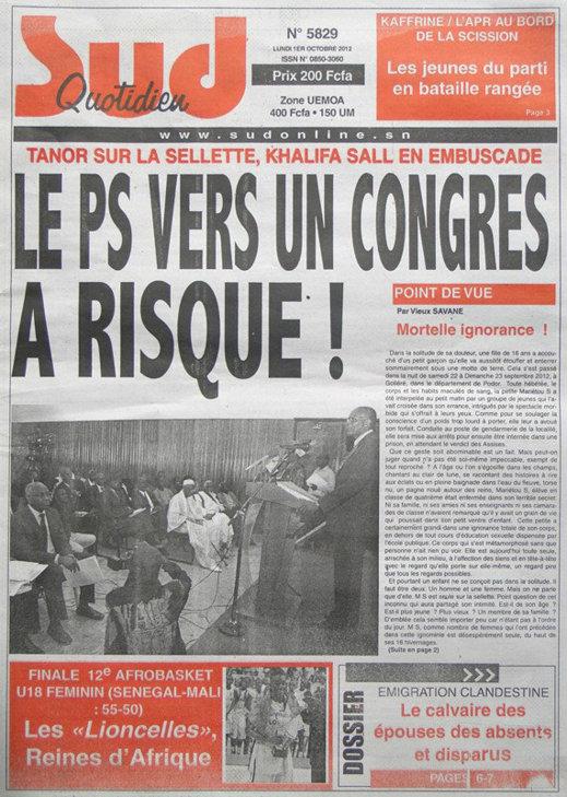 A la Une du Journal Sud Quotidien du 01 Oct