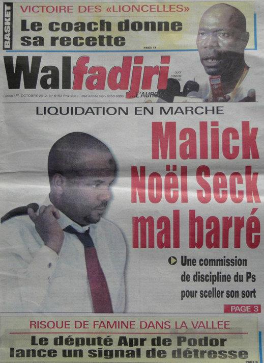 A la Une du Journal Walfadjri du 01 Oct