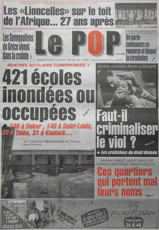 A la Une du Journal le Populaire du 01 Oct