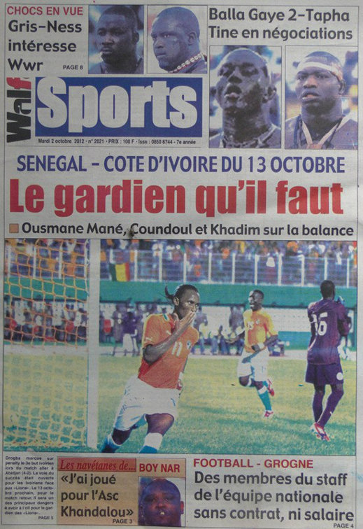 A la Une du Journal Walf Sports du 02 Octobre