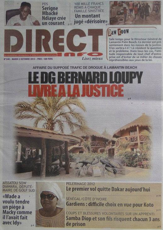A la Une du Journal Direct Info du 02 Octobre