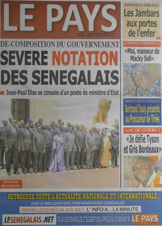 A la Une du Journal Le Pays du 02 Octobre