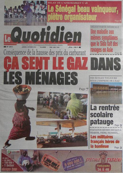 A la Une du Journal Le Quotidien du 02 Octobre