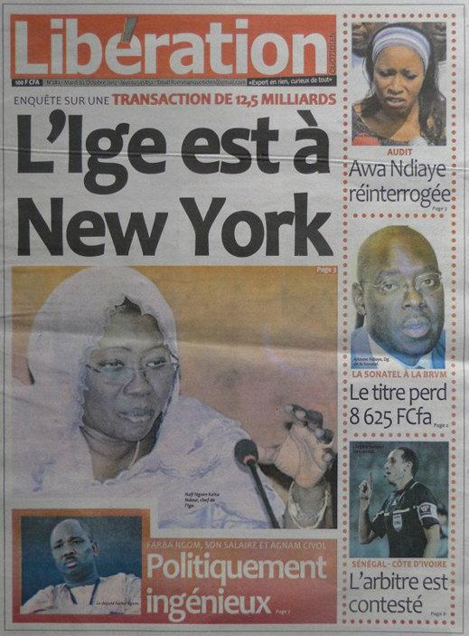 A la Une du Journal Libération du 02 Octobre