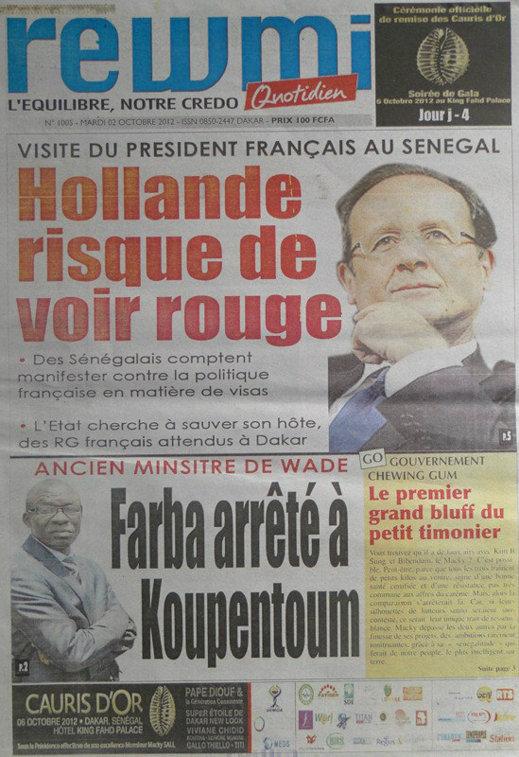 A la Une du Journal Rewmi Quotidien du 02 Octobre