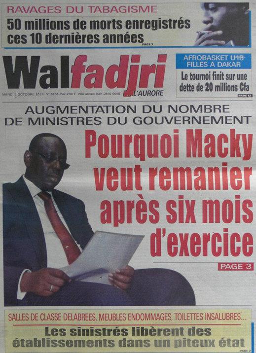 A la Une du Journal Walfadjri du 02 Octobre