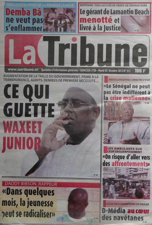 A la Une du Journal La Tribune du 02 Octobre