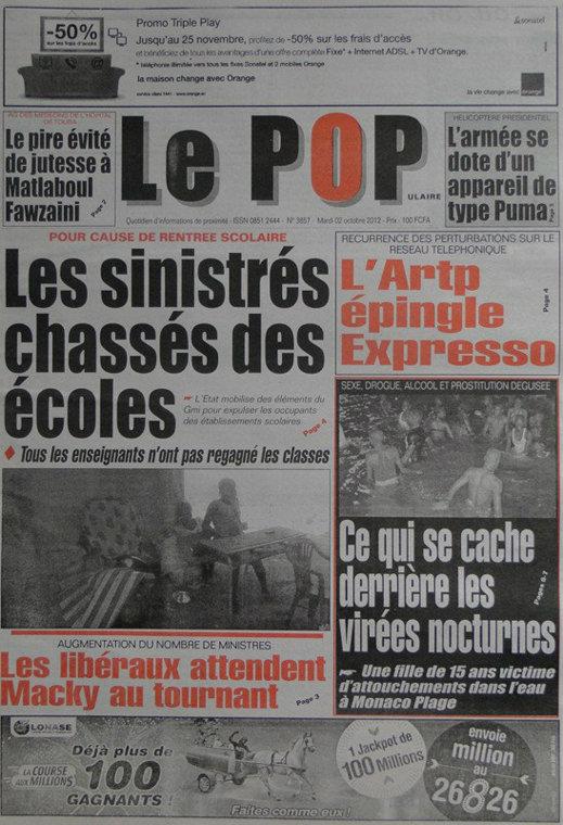 A la Une du Journal Le Populaire du 02 Octobre