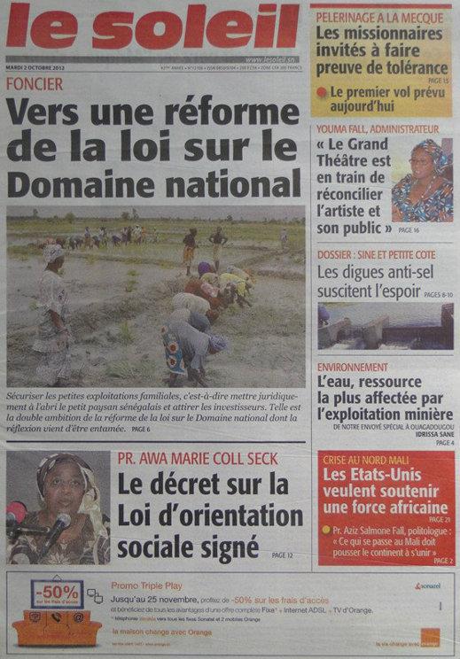 A la Une du Journal Le Soleil du 02 Octobre