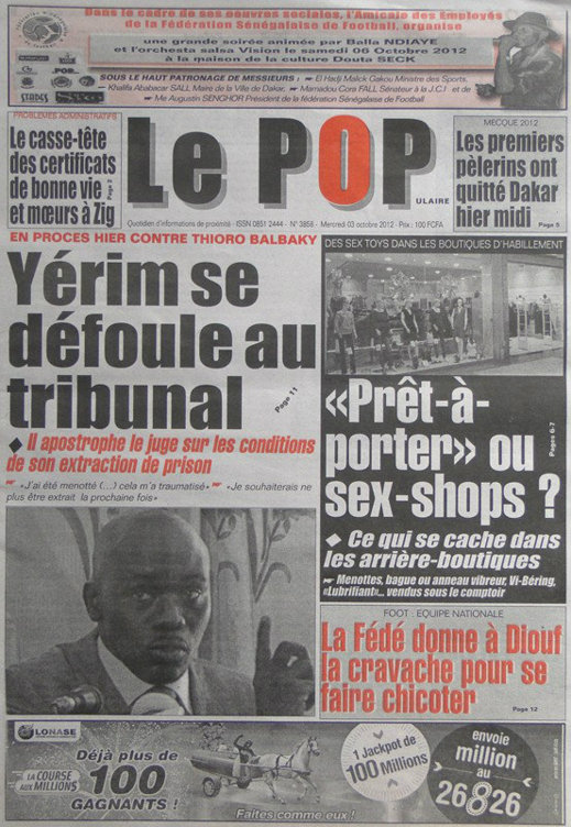 A la Une du Journal Le Populaire du 03 Octobre