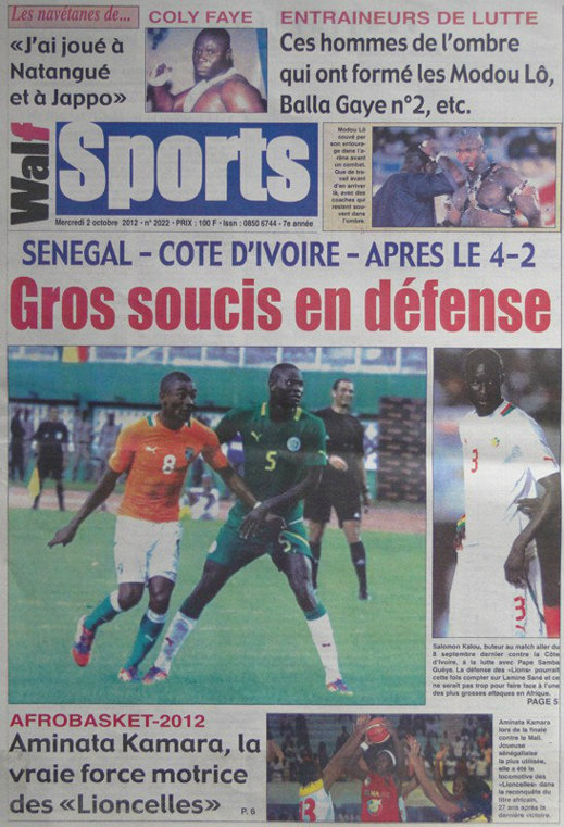 A la Une du Journal le Walf Sports du 03 Octobre