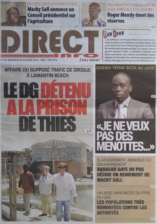 A la Une du Journal Direct Info du 03 Octobre