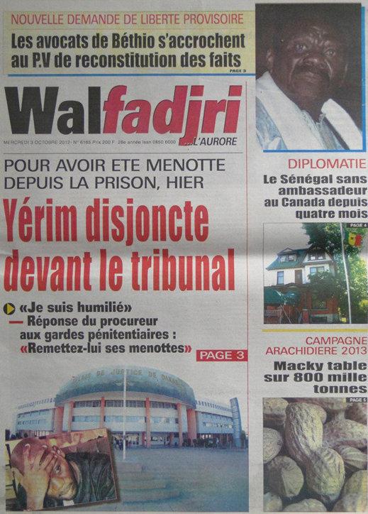 A la Une du Journal Walfadjri du 03 Octobre