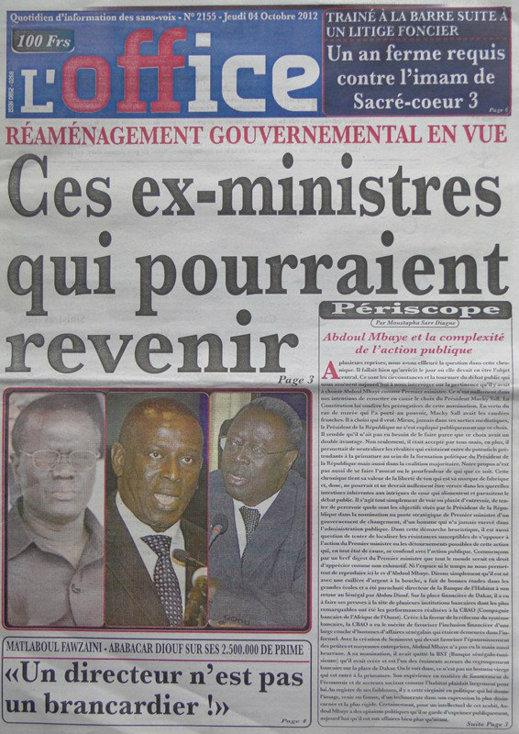 A la Une du Journal L'Office du 04 Octobre