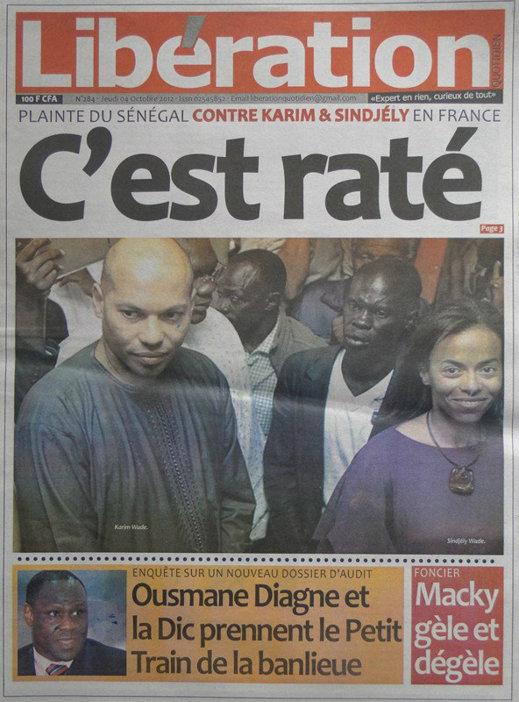 A la Une du Journal Libération du 04 Octobre