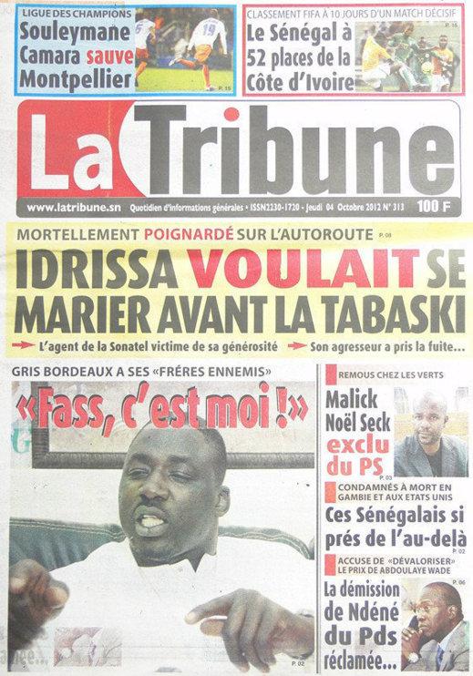 A la Une du Journal La Tribune du 04 Octobre