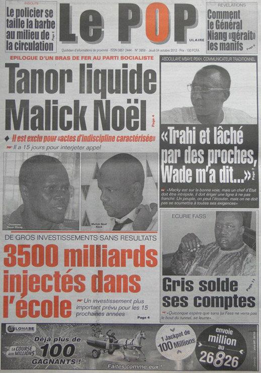 A la Une du Journal Le Populaire du 04 Octobre