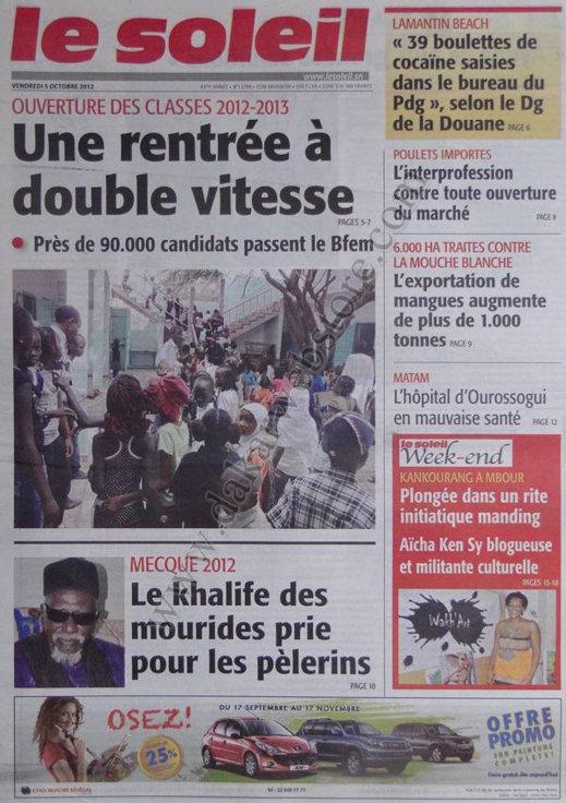 A la Une du Journal Le Soleil du 05 Octobre