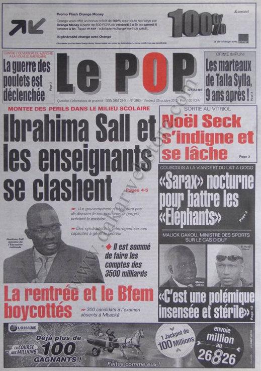 A la Une du Journal Le Populaire du 05 Octobre