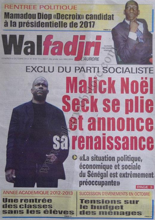 A la Une du Journal Walfadjri du 05 Octobre