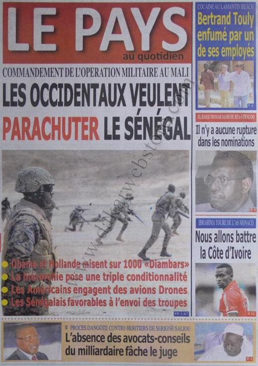 A la Une du Journal Le Pays du 05 Octobre
