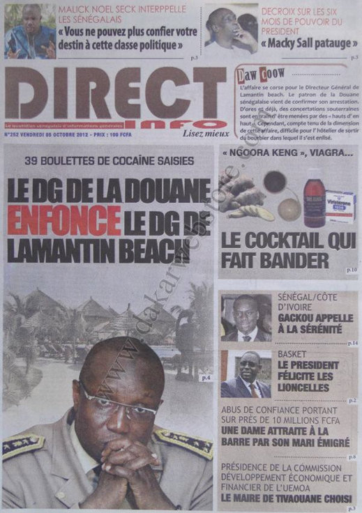 A la Une du Journal Direct Info du 05 Octobre
